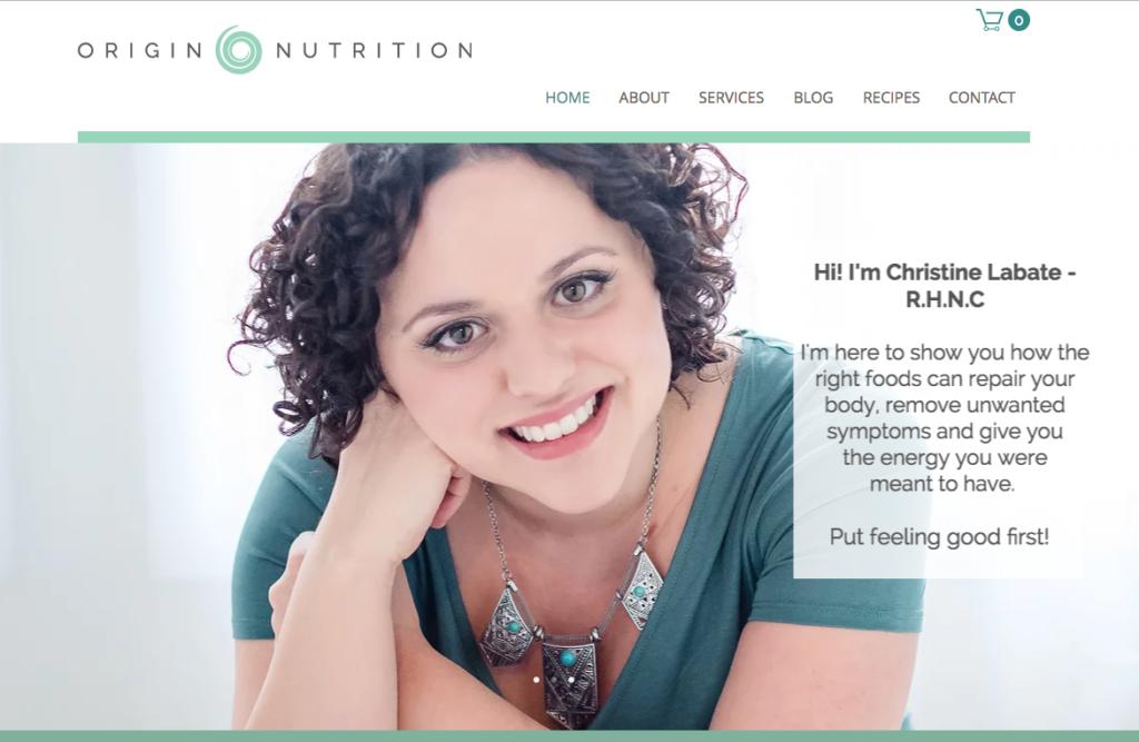 Website Design, Origin Nutrition
